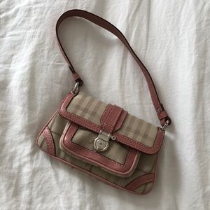 Burberry mini purse with pink leather trim